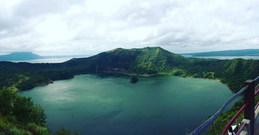 Taal volcano crater lake in green