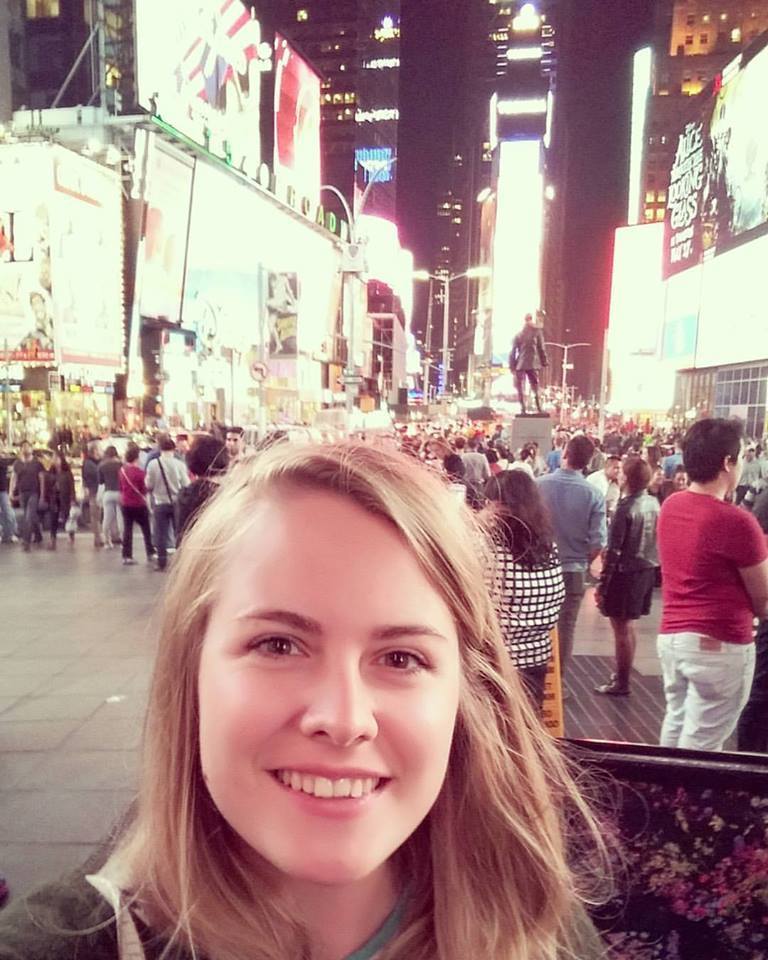 A selfie in Time Square at night