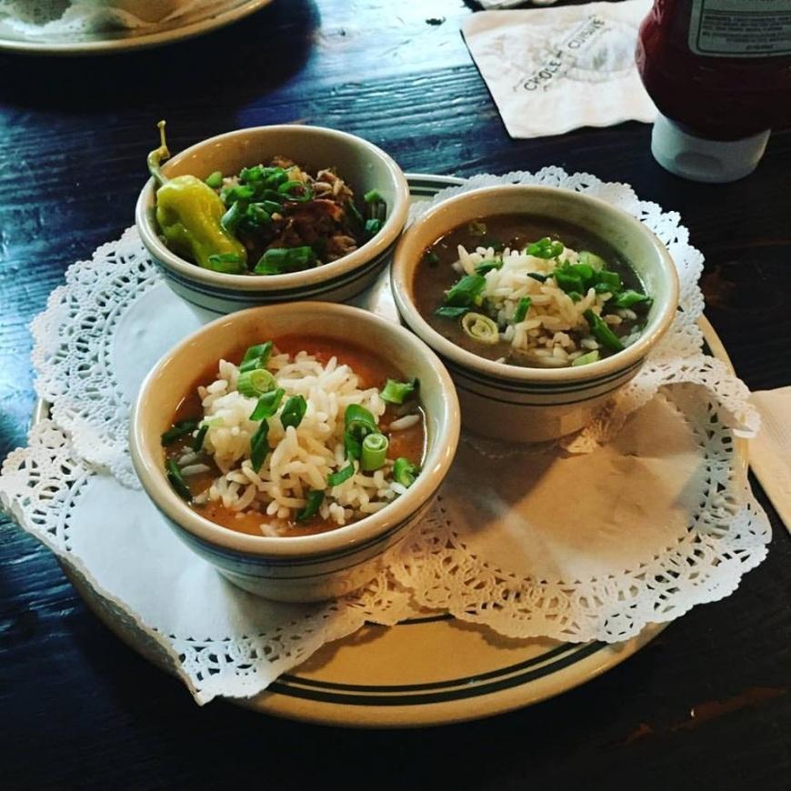 Three tasting dishes of creole food