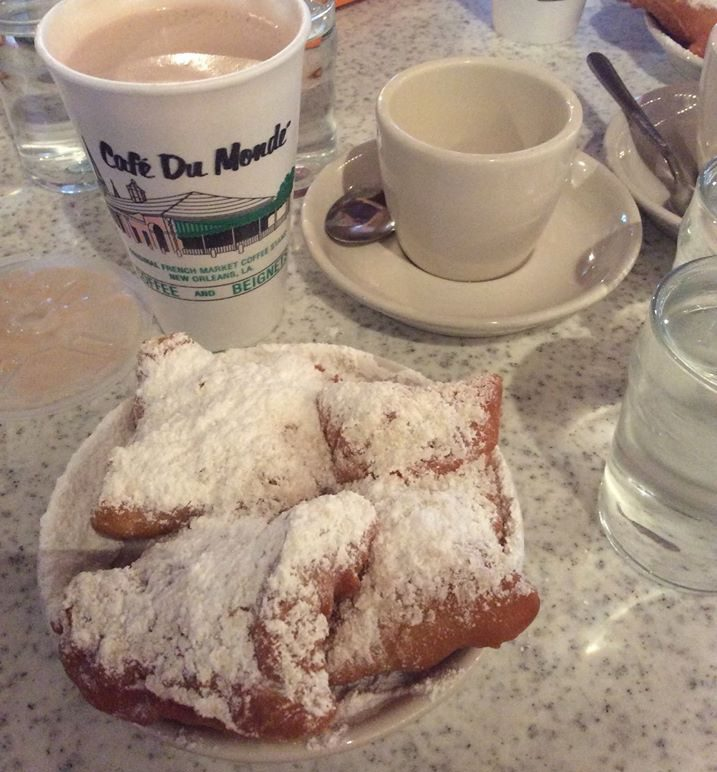 Cafe au Lait and Beignets from Cafe du Monde
