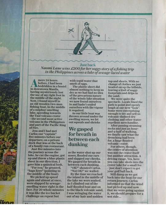 Cutting from Daily Telegraph Travel winning article